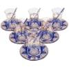 Blue Traditional Tea Glasses for Six - Grand Turkish Bazaar-4