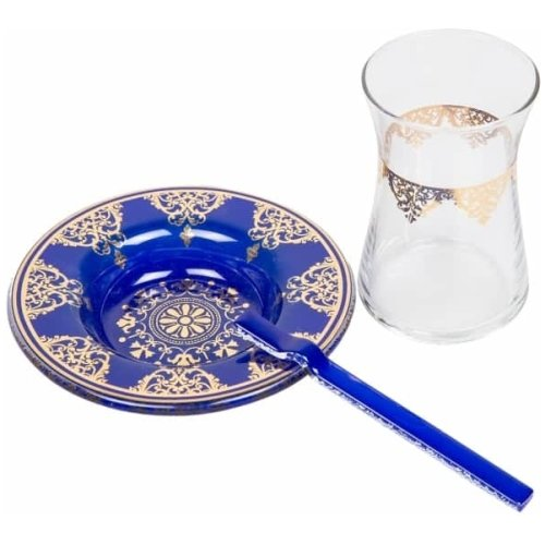 Blue Traditional Tea Glasses for Six - Grand Turkish Bazaar-3