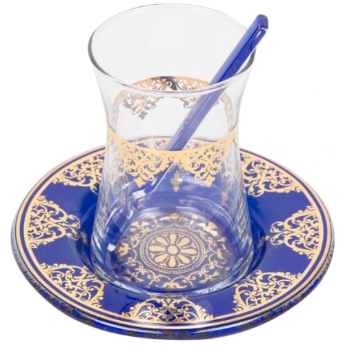 Blue Traditional Tea Glasses for Six - Grand Turkish Bazaar