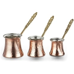 Copper Turkish Coffee Pot Set 3pcs