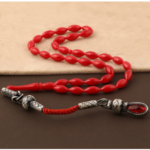 Coral Red Amber Prayer Beads
