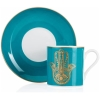 Hamsa Hand Turkish Coffee Set for Two - Turquoise - Grand Turkish Bazaar