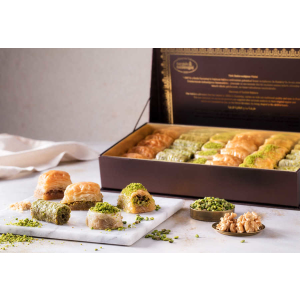 mixed baklava in leather gift box