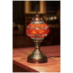mosaic table lamp round orange