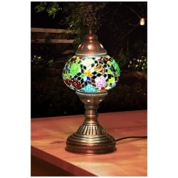 green mosaic table lamp
