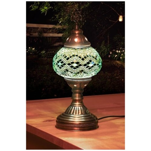 green round mosaic table lamp