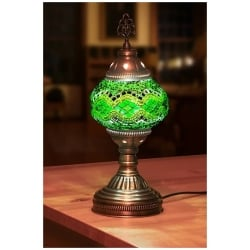 green mosaic table lamp round