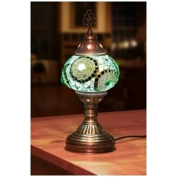 mosaic table lamp turquoise round