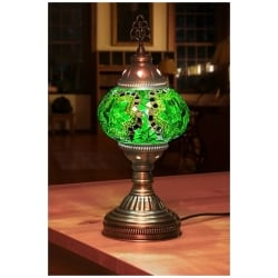 green mosaic table lamp stars