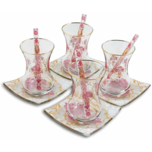 Pink Premium Tea Set for Six - Grand Turkish Bazaar