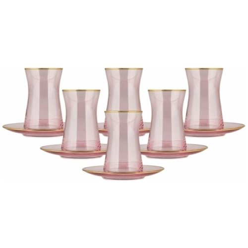 Pinky Traditional Tea Glasses for Six - Grand Turkish Bazaar-3