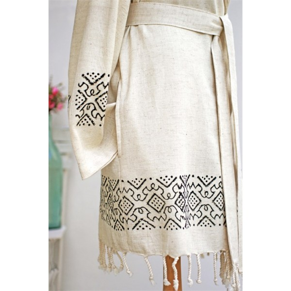 Traditional Wood Printed Pastamal Bathrobe