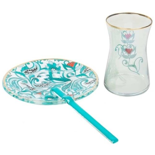 Turquoise Traditional Tea Glasses for Six - Grand Turkish Bazaar-3