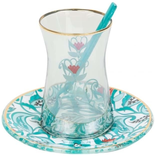 Turquoise Traditional Tea Glasses for Six - Grand Turkish Bazaar