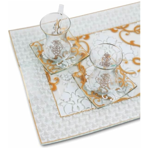 White Premium Tea Set for Six - Grand Turkish Bazaar