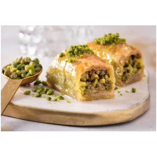 wrapped baklava with pistachio