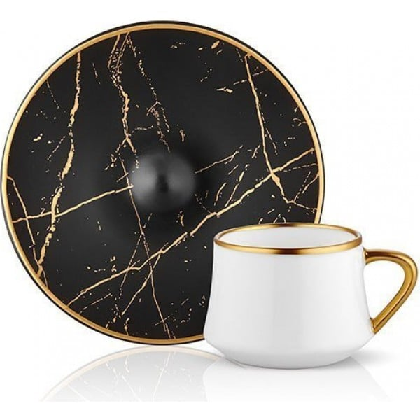 Sufi Turkish Coffee Set for 6 Black Marble
