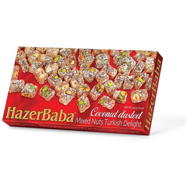 Coconut Dusted Mixed Nuts Turkish Delight, Hazer Baba