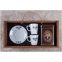 Turkish Coffee Set for 2 in Wooden Box, Hafiz Mustafa