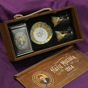 Turkish Tea Set for 2 in Wooden Box