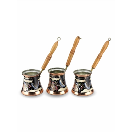 Flower Engraved Copper Turkish Coffee Pot Set