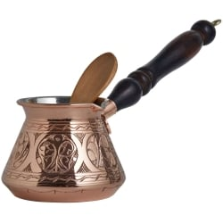 Engraved and Hammered Copper Turkish Coffee Pot, 4cups
