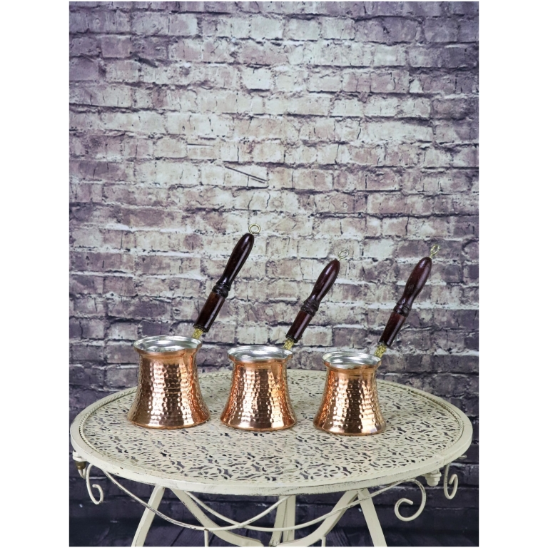 Turkish Coffee Pot Set, 3 Pcs, Wooden Handle