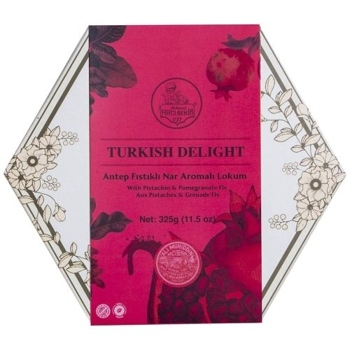 Pomegranate Turkish Delight with Pistachio, Haci Bekir, 325g
